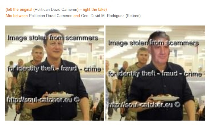 Politican David Cameron image abused by Scammers